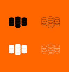 Coins black and white set icon vector