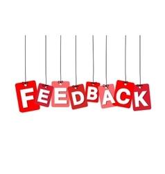colorful hanging cardboard Tags - feedback vector image
