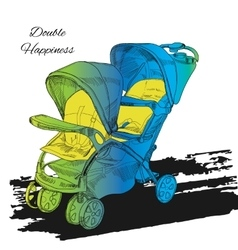 colorfull Double twin Stroller vector image