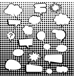 Comic text boxes with elements and dot pattern vector