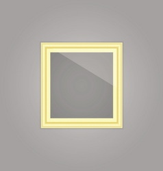 Created gold picture frame with mirror reflection vector