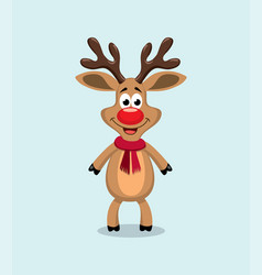 cute cartoon red nosed reindeer rudolph vector image