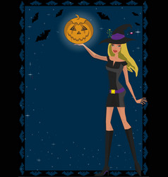 cute green eyed blonde witch in short dress vector image