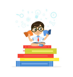 Cute little boy sitting and reading on giant stack vector
