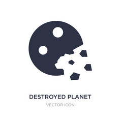 Destroyed planet icon on white background simple vector