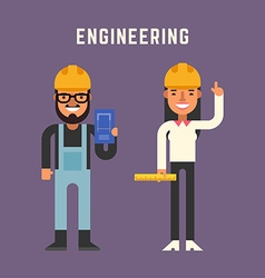 Engineering Concept Male and Female Cartoon vector