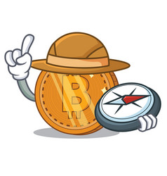 Explorer bitcoin coin character cartoon vector