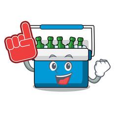 Foam finger freezer bag mascot cartoon vector