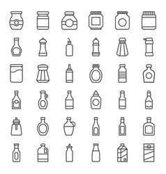 food and drink container icon set outline style vector image