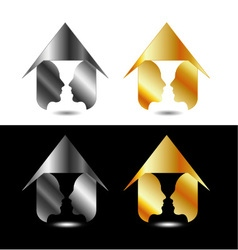 Form of vase created from 2 faces inside a house vector image vector image