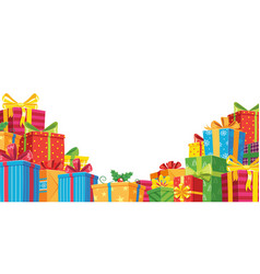 gift banner with pile boxes to celebration and vector image