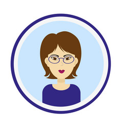 Girl face with brown hair brown eyes and glasses vector