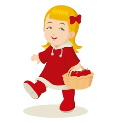 Girl With a Basket of Apples vector