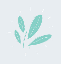 green leaves hand drawn icons on white vector image