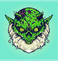Green monster vape cloud vector