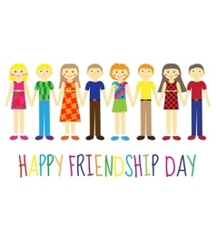 Greeting card with a happy friendship day vector image
