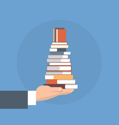 Hand hold books stack school education concept vector