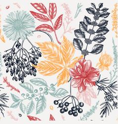 Hand sketched autumn retro backdrop elegant vector