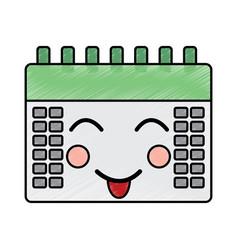 happy calendar kawaii icon image vector image