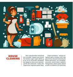 House cleaning service promotional banner with vector