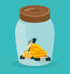 jar with coins and bills dollars money vector image
