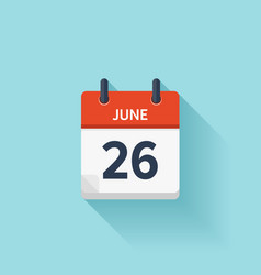 June 26 flat daily calendar icon Date vector