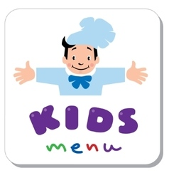 Kids Menu logo with funny cook boy vector