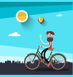 man on bicycle flat design vector image