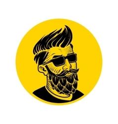 Man with beard in form hop emblem vector