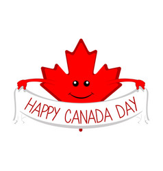 maple leaf holding a ribbon canada day vector image