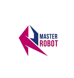 Master robot letter r icon vector