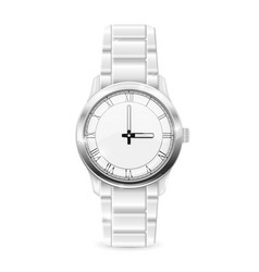 Men watch with metal bracelet roman numerals on vector