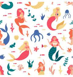 mermaids marine pattern seamless cute mermaids vector image