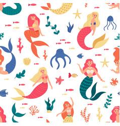 mermaids marine pattern seamless cute vector image