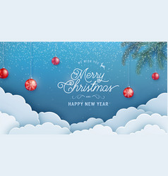 merry christmas happy new year invitation vector image