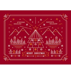 Merry christmas outline tree city winter poster vector image