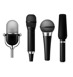 microphones realistic mic conference news media vector image