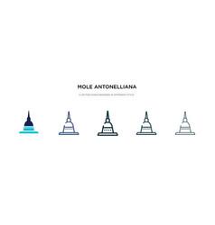 Mole antonelliana in turin icon in different vector