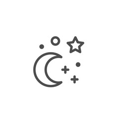Moon and stars line icon vector