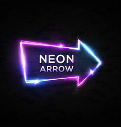 neon arrow pointer on black brick wall background vector image