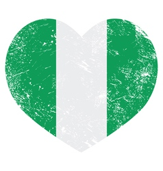 Nigeria retro heart shaped flag vector image