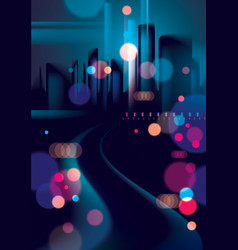 night city life with street lamps and bokeh vector image
