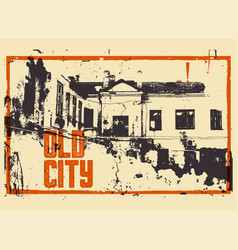 old city typographic vintage poster design vector image