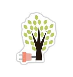 Paper sticker on white background eco energy vector