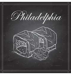 Philadelphia roll on a blackboard vector