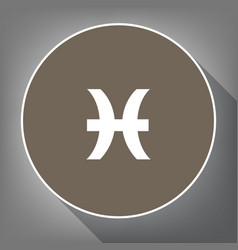 pisces sign white icon on vector image