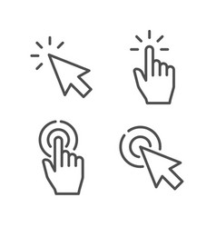pointer line icon hand touch gesture vector image