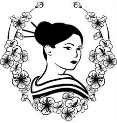 Portrait of a Geisha in a wreath of cherry vector