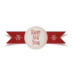 Realistic red Ribbon with New Year Label vector image