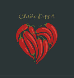 red hot chilli peppers in a heart shape vector image